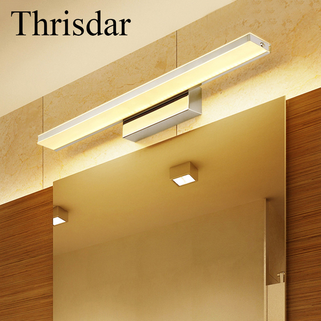 Thrisdar 9W 12W Anti Fog Acrylic Bathroom Mirror Light Waterproof Vanity  LED Bathroom Wall Lamp