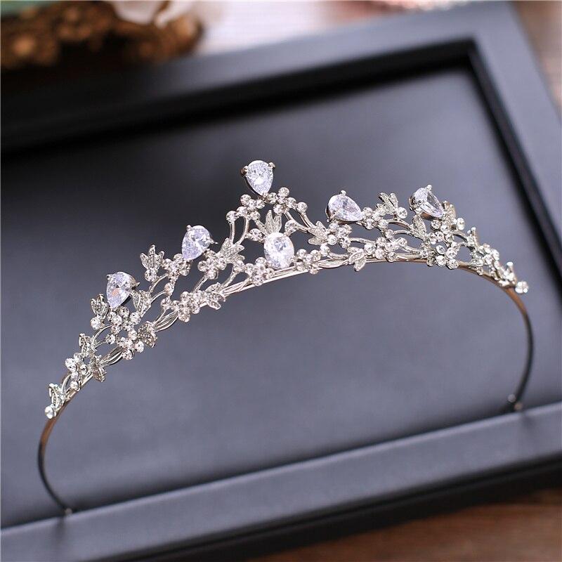 Zircão tiara cobre zircão tiaras micro pave cz noiva coroa casamento jóias de cabelo diadem coroas strass mariage bijoux coroa