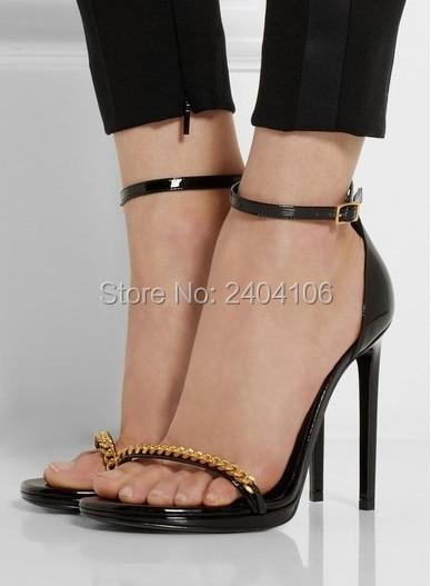5fddcbc7a3d Classic Black Patent Leather Sandales Talon Femme Summer Shoes Platform  Thin High Heels Ankle Strap Gold Chain Sandals Women
