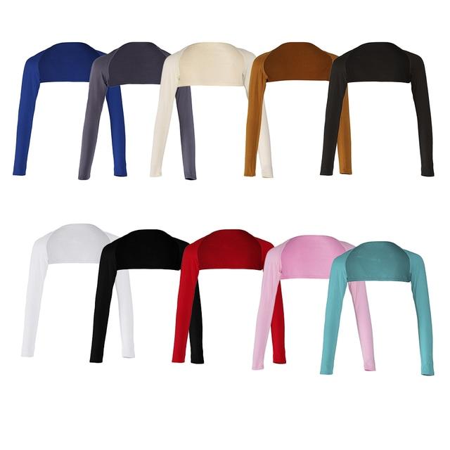 אופנה נשים של רך חתיכה אחת ארוך שרוולים אלסטי מודאלי זרוע חם כיסוי משיכת הכתפיים חיג אב חולצות בגדים מוסלמיים