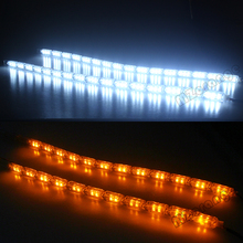 Car-styling 2pcs Car Flexible Switchback LED Knight Rider Strip Light for Headlight Sequential Flasher DRL Turn Signal Lamp