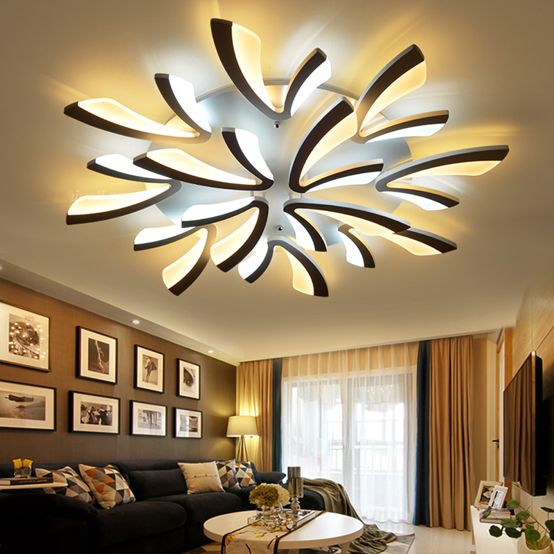 купить Acrylic Modern led ceiling lights for living room bedroom dining room home ceiling lamp lighting light fixtures free shipping по цене 5864.78 рублей