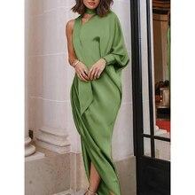 Elegant evening dress one-shoulder pleated side slit dress free shipping цена 2017