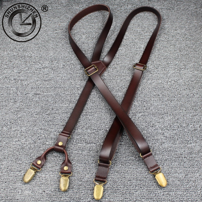 1.7cm Fashion Leather 4 Clips Suspenders Commercial Western Style Trousers Man Braces