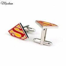 MQCHUN Superman Cufflinks Fashion Superhero Enamel Charm Jewelry Boy Mens Shirt Wedding Cuff Links Accessories High Quality