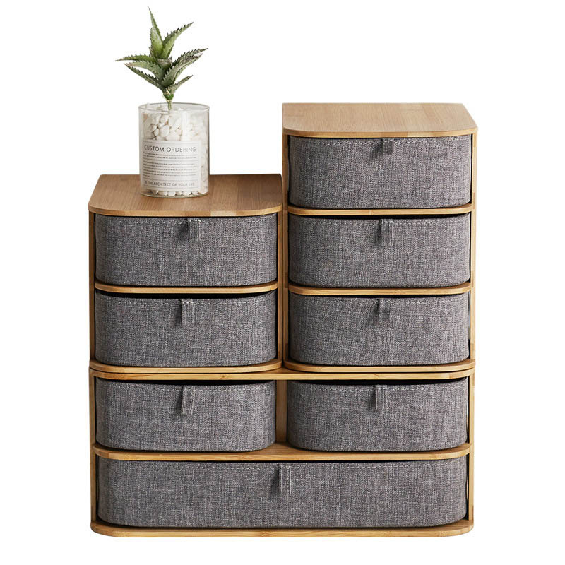 Boîte de rangement en bois de bambou nouvellement multi-couches avec tiroirs en tissu Oxford pour bureau MK - 4