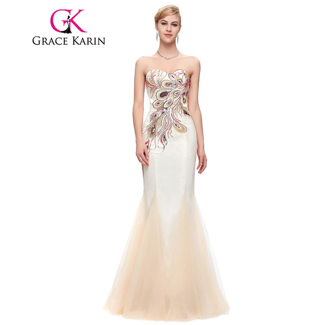 Peacock Bridesmaid Dresses Long Grace Karin Strapless Formal Gown Black Royal Blue Long Mermaid Prom Dress Wedding Party Dress