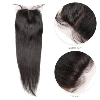 Silk Base Closure Brazilian Straight Human Remy Hair 4X4 Siwss Lace with Bleached Knots Middle Part Style M