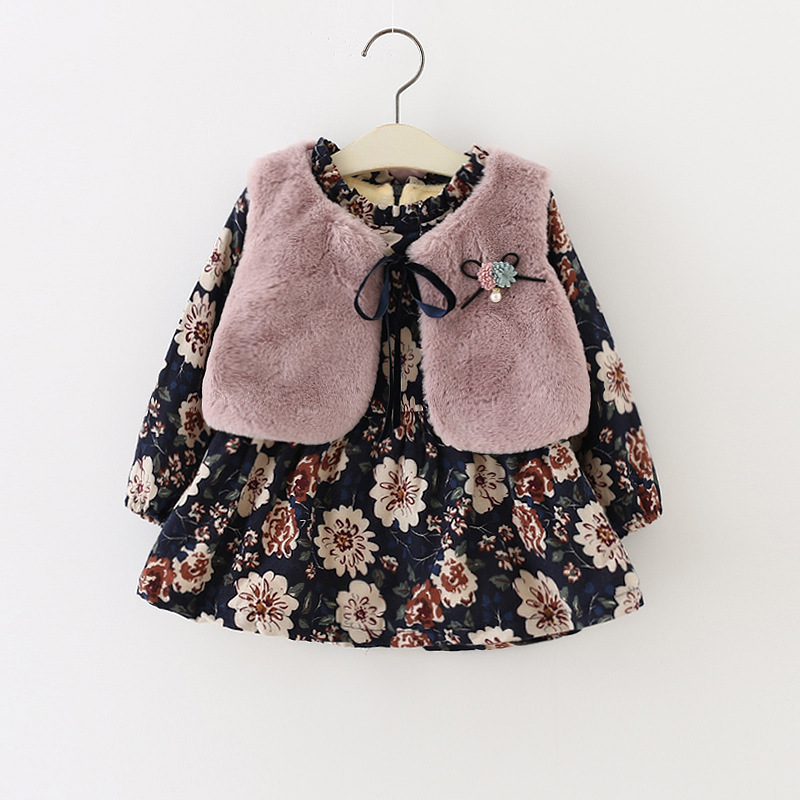 Autumn and winter Girl Long sleeve Floral Plus velvet dress Fashion fur Vest Two-piece suit dress +vest princess dress