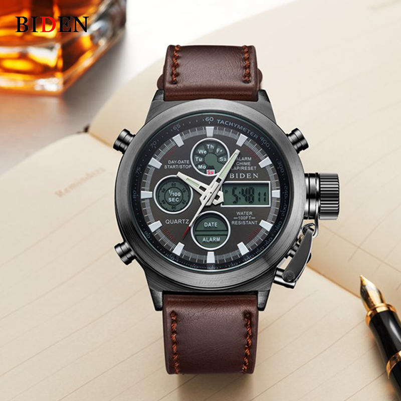 BIDEN Watches Men's Luxury Brand Dive LED Digital Watches Sport Military Genuine Quartz Watch Men Relogio Masculino reloj hombre цена
