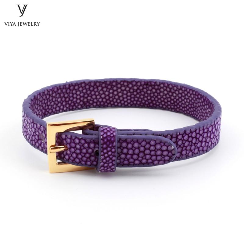10 мм ширина Блестящий Фиолетовый Плоский Кожаный Браслет манжета для пары роскошный индивидуальный разноцветный ремешок для часов ската браслет для женщин