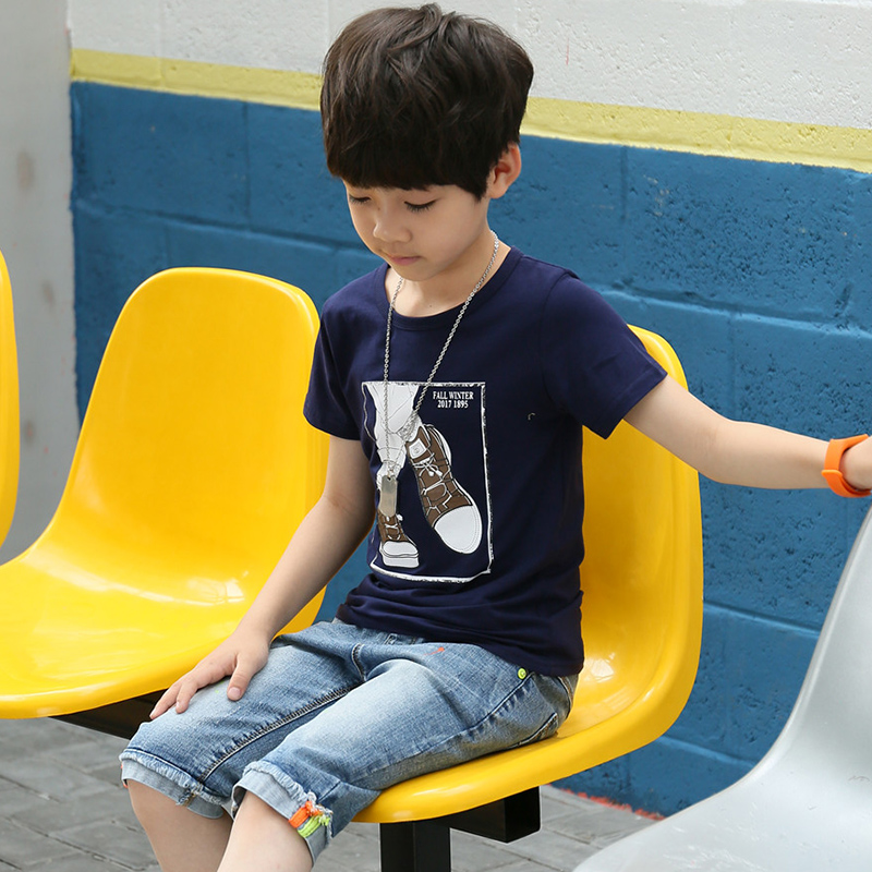 Summer Boys Clothing Sets Kids Children Cotton Costumes Ensemble Short Sleeve T-shirt + Denim Pants Jeans 2 Pieces Sport Outfits sun moon kids boys t shirt summer