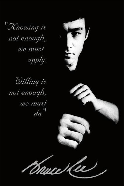 Bruce Lee Sillouette Motivational Poster 50 70cm Kung Fu Quotes
