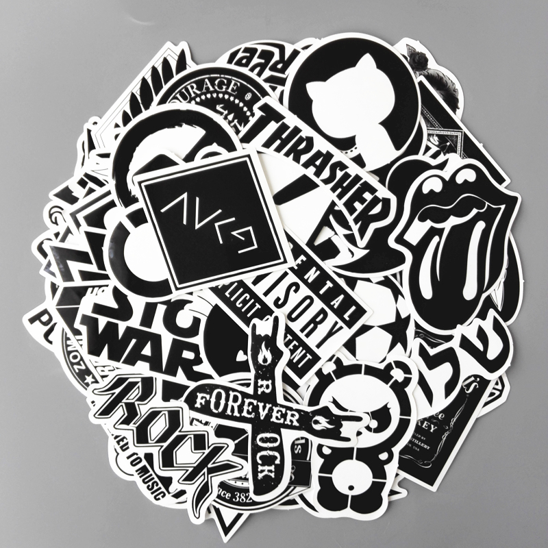 TD ZW 120pcs/lot Mixed Waterproof Stickers Toy Styling Black And White DIY Vinyl Laptop Luggage Bicycle Phone Car Sticker Decal
