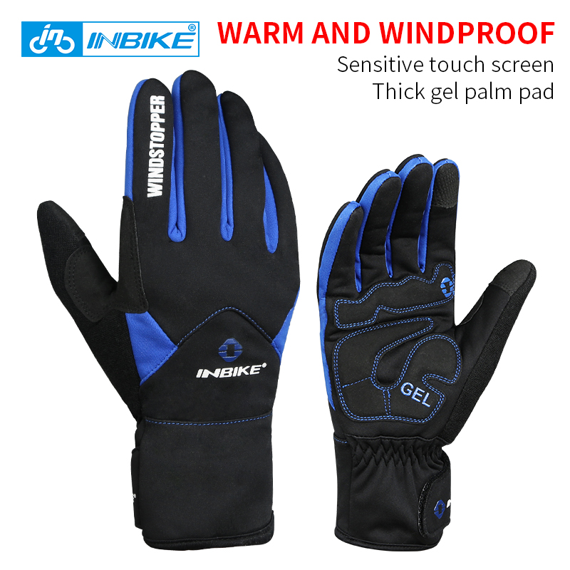 INBIKE Bike Gloves Winter Thermal Windproof Warm <font><b>Full</b></font> Finger <font><b>Cycling</b></font> Glove Climbing Ski Gloves Bicycle Gloves for Man Woman 966