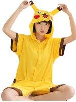 Poke lun Pika chu Anime Cosplay Costume D'été Salopette À Manches Courtes Animal de Bande Dessinée Pyjamas Pyjamas Onesie pour Adultes de Nuit