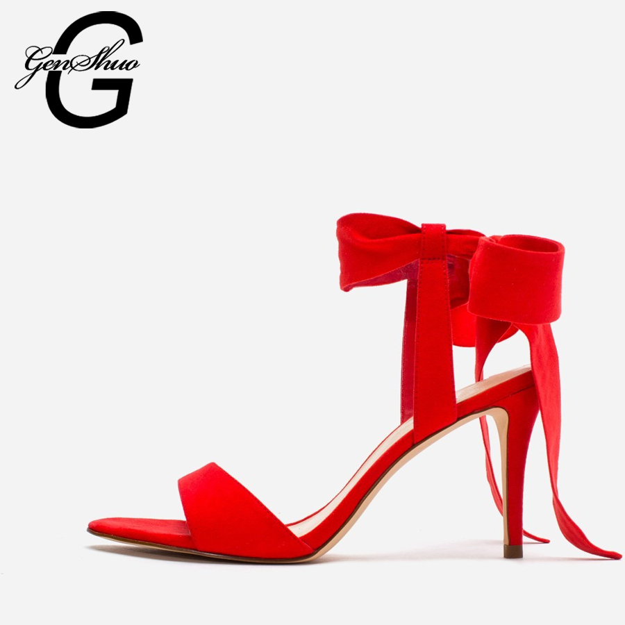 GENSHUO Red Flower Women Shoes Lace Up Summer High Heels Shoes Wedding Party Women Pumps zapatos mujer Gladiator Sandals Ladies size 4 9 summer black women shoes elegant white flower high heels shoes cross women pumps zapatos mujer check foot length