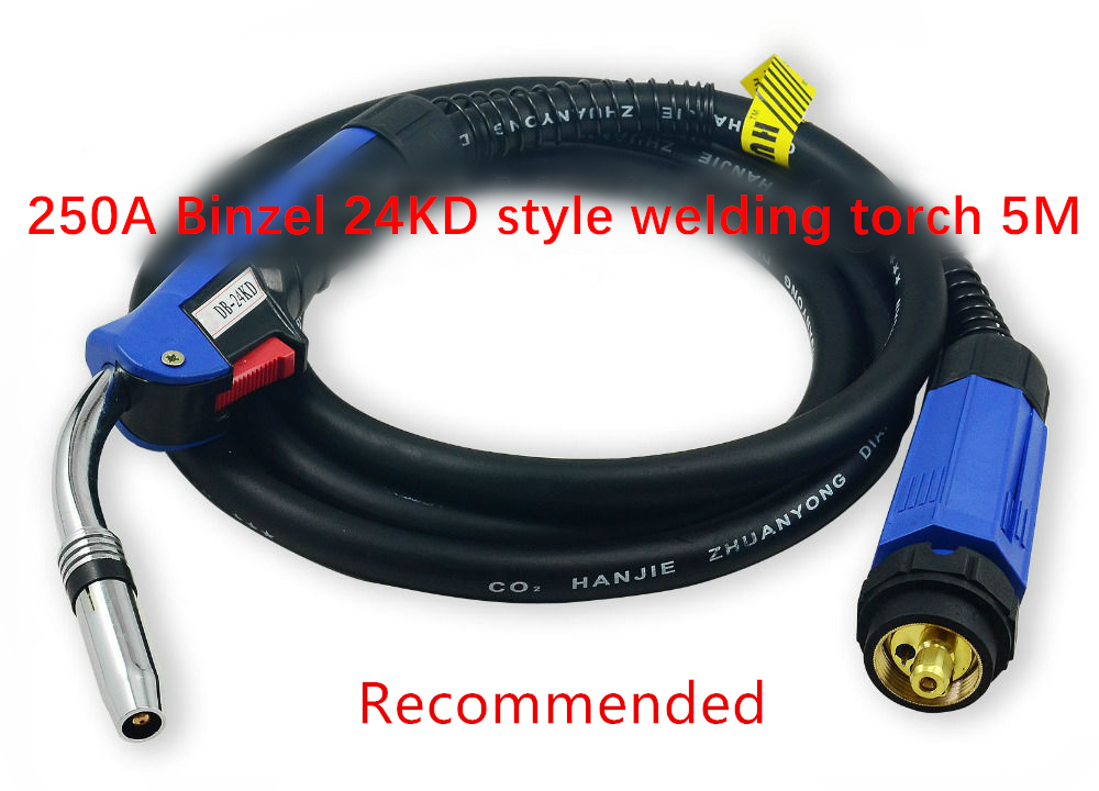 BINZEL STYLE 250A MB24KD (5-METERS) MIG WELDING TORCH / GUN (EURO CONNECTOR) Gas Cooled CO2 Mig Welding Torch Complete wp 17v sr 17v tig welding torch complete 26feet 8meter soldering iron gas valve control air cooled 150amp