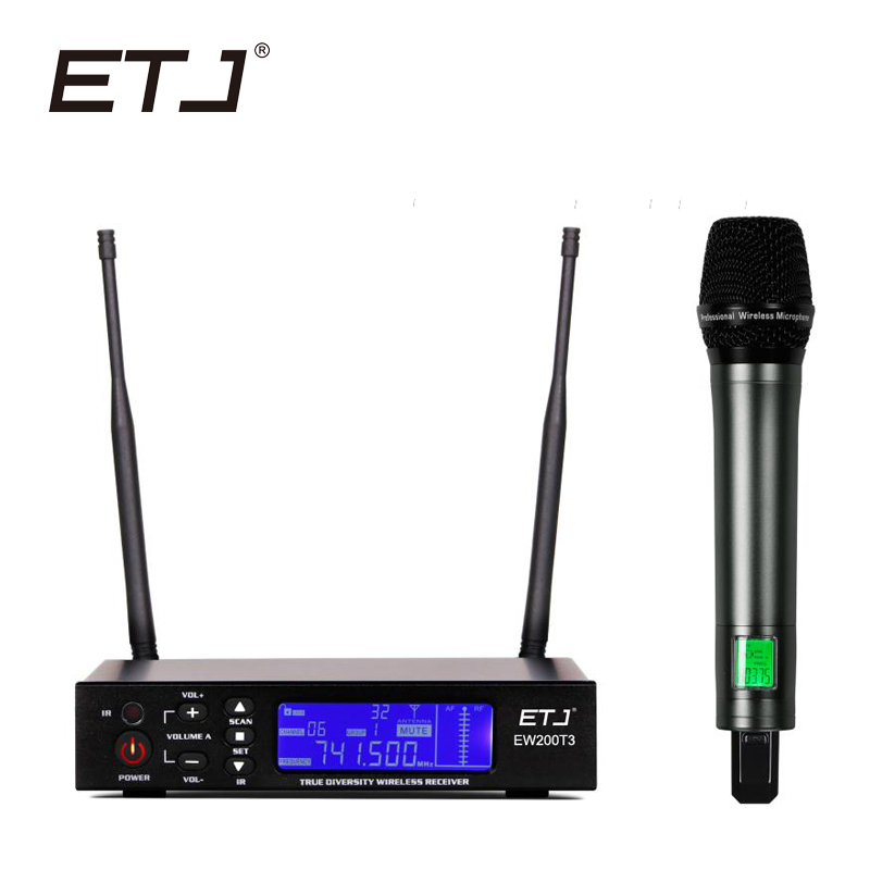 ETJ Brand True Diversity Professional Dual UHF Wireless Microphone 2 Handheld Mic Karaoke Stage Performance Microphones EW200T3