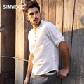 2016 New Arrival SIMWOOD Brand Slim Fit Casual Three Quarter Stand Collar Solid Shirts Men Plus Size Free Shipping CS1524