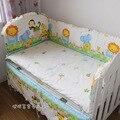 5 pcs baby bedding set kit bebê berço bumpers folha de cama do bebê 100% peças conjunto de cama de algodão tenda animal dos desenhos animados bedding
