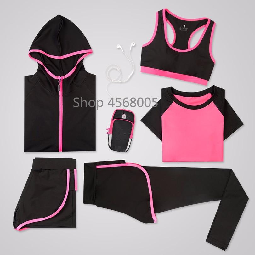 Для женщин 5 шт. Йога набор для беговая футболка Фитнес бюстгальтер спортивная