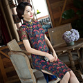 TIC-TEC women short qipao chinese traditional elegant vintage dress embroidery lace oriental dresses cheongsam evening P3264