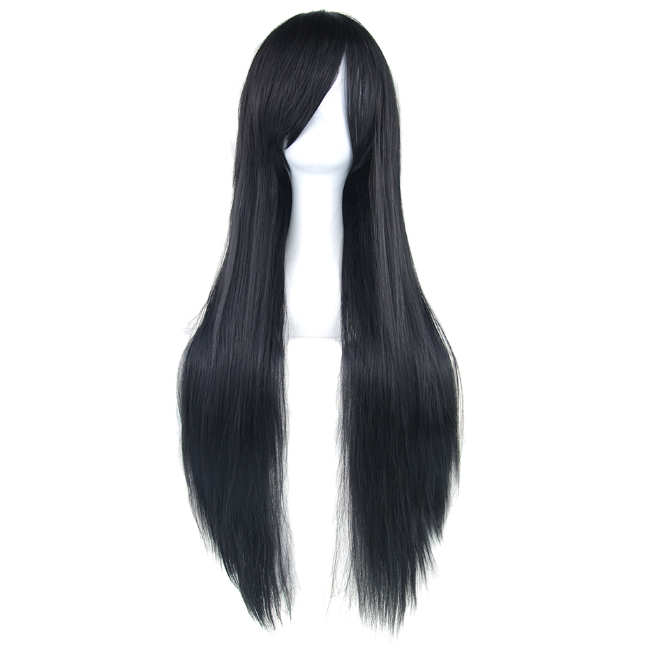 Soowee 24 Colors 80cm Long Straight Women Heat Resistant Synthetic Hair Nature Black Gray Cosplay Wig