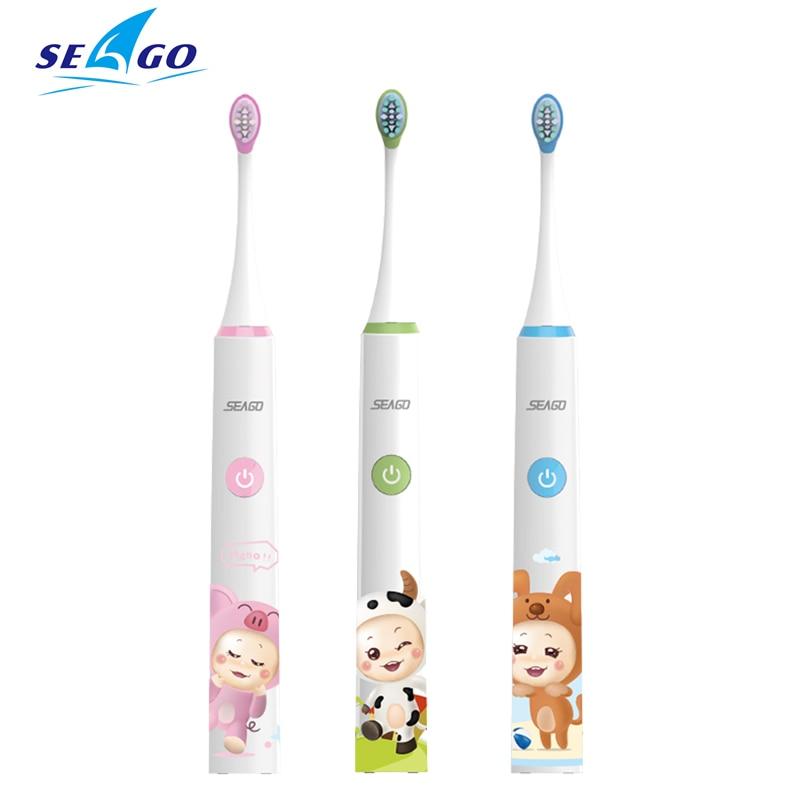 SEAGO Kinder Elektrische Zahnbürste Wiederaufladbare 3-6-12 Jahre Alt Wasserdicht Kind Baby Automatische Zahnbürste Sound Welle SG-SK2