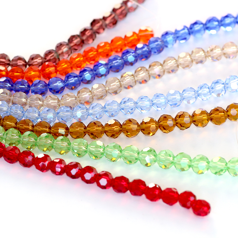 Crystal Round Beads Crafts Wholesale 6/8mm Austrian Faceted Glass Loose Lampwork Materials Beads Handmade for Making Necklaces