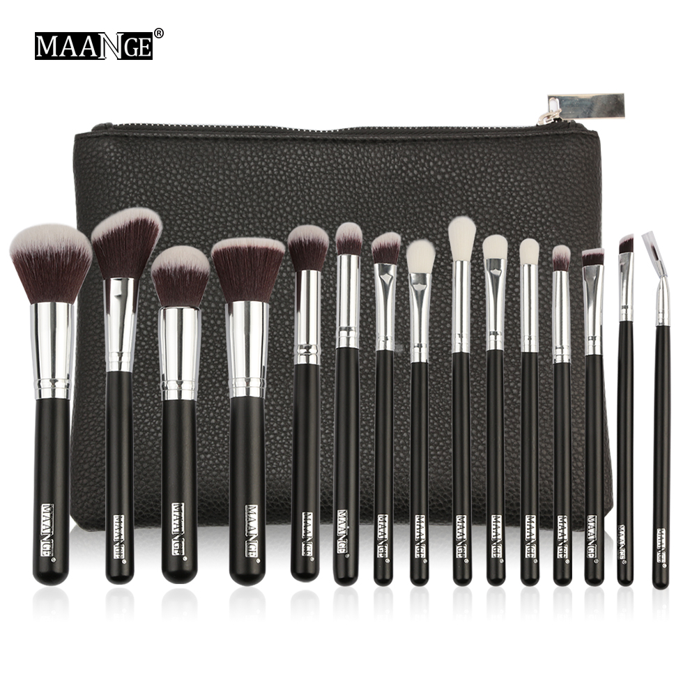 MAANGE 6-15Pcs Makeup Brushes Set Powder Foundation Eyeshadow Cosmetic Make Up Brush With PU Leather Case Beauty Tool Kit cadisen automatic mechanical mens watches top brand luxury full steel watch men business waterproof fashion male clock rose gold
