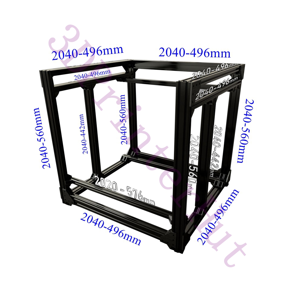 Free DHL Shipping, BLV Mgn Cube 3D Printer Aluminum Extrusion Frame Full Kit W/ Nuts Screw Bracket Corner F/ CR10 365mm Z Height