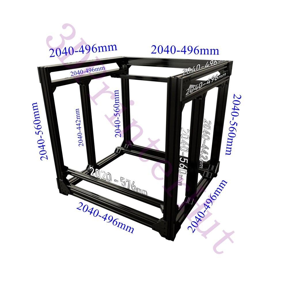 Free Shipping, BLV Mgn Cube 3D Printer Aluminum Extrusion Frame Full Kit W/ Nuts Screw Bracket Corner F/ CR10 365mm Z Height