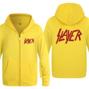 Image 4 - Slayer zespół rockowy bluzy mężczyzn 2018 mężczyzna zamek polar z kapturem swetry rozpinane