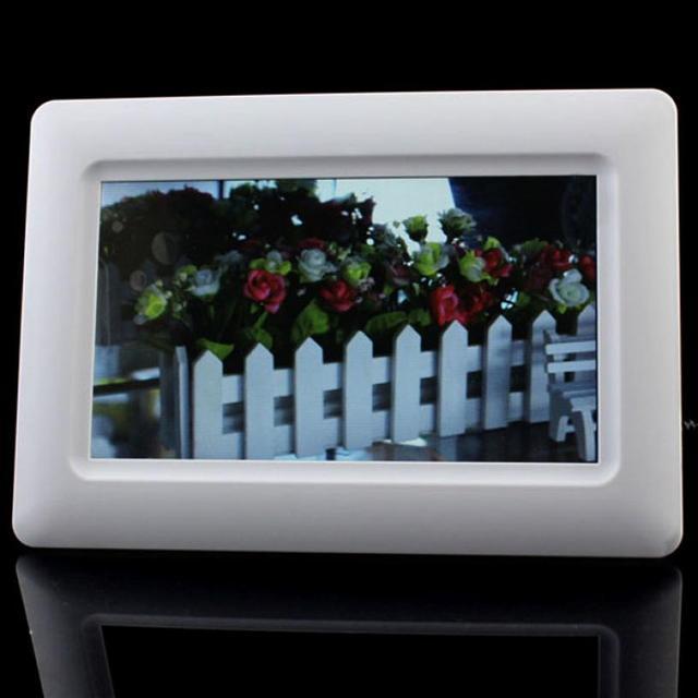 "New 7"" TFT LCD Digital Photo Frame Alarm Clock Support U SD MMC MS USB White Free Shipping Feb16"