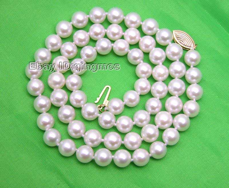 SALE AAA 6 to 7MM AKOYA Natural White Sea Pearl Necklace With Solid Gold Clasp-nec5010 whole sale and retail Free shipping hot sale new style aaaa 7mm genuine akoya pink sea water pearl necklace 14kgp j5534