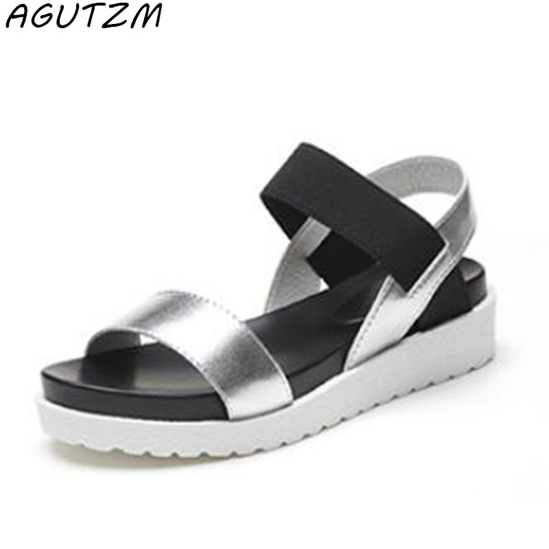 AGUTZM 2018 New Gladiator Women shoes Roman sandals shoes Women sandals peep-toe flat Shoes woman sandalias mujer sandalias phyanic 2017 gladiator sandals gold silver shoes woman summer platform wedges glitters creepers casual women shoes phy3323