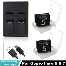2x 1600mAh AHDBT-501 Go pro Hero5 battery Hero 6 hero7 bateria AHDBT 501 batteries + USB Charger For Gopro 5 6 7 Action Camera 1250mah ahdbt 501 battery for gopro hero 5 black hero5 battery quantity 1x ahdbt 501 battery