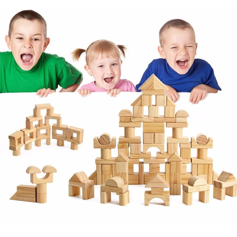 1 Set Beuken Houtblokken Bouwstenen Amusant Spel Kwaliteit Baby Vroege Jeugd Educatief Intelligentie Speelgoed Geschenken Prijs Blijft Stabiel