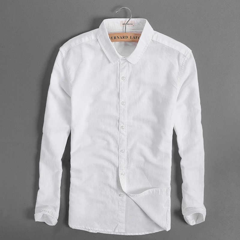 d0ea45cff1f Italy brand men shirt linen long sleeve cotton shirt men casual solid four  seasons white shirts