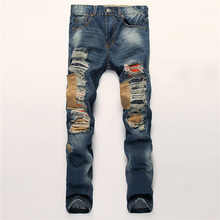 Men's fashion pocket hole ripped jeans Casual patchwork slim straight dark blue denim pants Long trousers locomotive jeans