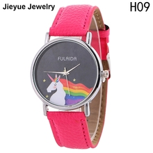 Lovely Unicorn Watch Women Cute Cartoon Leather Strap Simple Casual Ladies Quartz Wrist Watch Sweet Hours Reloj Mujer