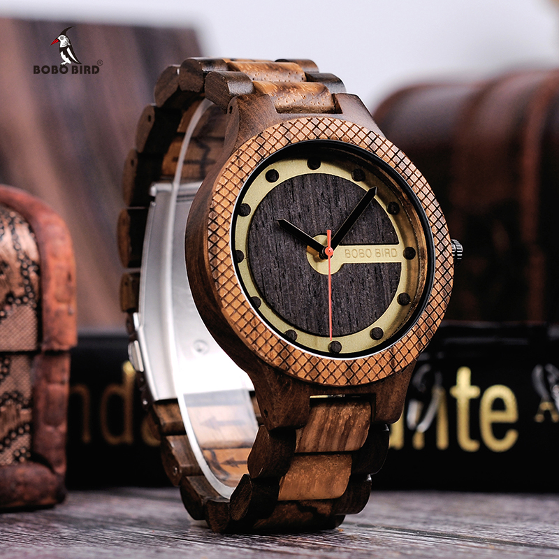 BOBO BIRD relogio masculino Timepieces Wooden Watches for Men Handmade Watch in Wood box C-dQ09 bobo bird watch men wooden metal quartz watches special design men s wristwatches in wooden box timepieces relogio masculino