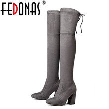 FEDONAS NEW 9.5cm Sucrb Leather Women Over The Knee Boots Lace Up Sexy Hoof Heels Women Shoes Soild Autumn Winter Warm Boots
