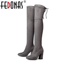 FEDONAS NEW 9 5cm Sucrb Leather Women Over The Knee Boots Lace Up Sexy Hoof Heels