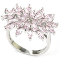 7.5# Fashion Pink Kunzite SheCrown Woman's Engagement Created Silver Ring 26x20mm