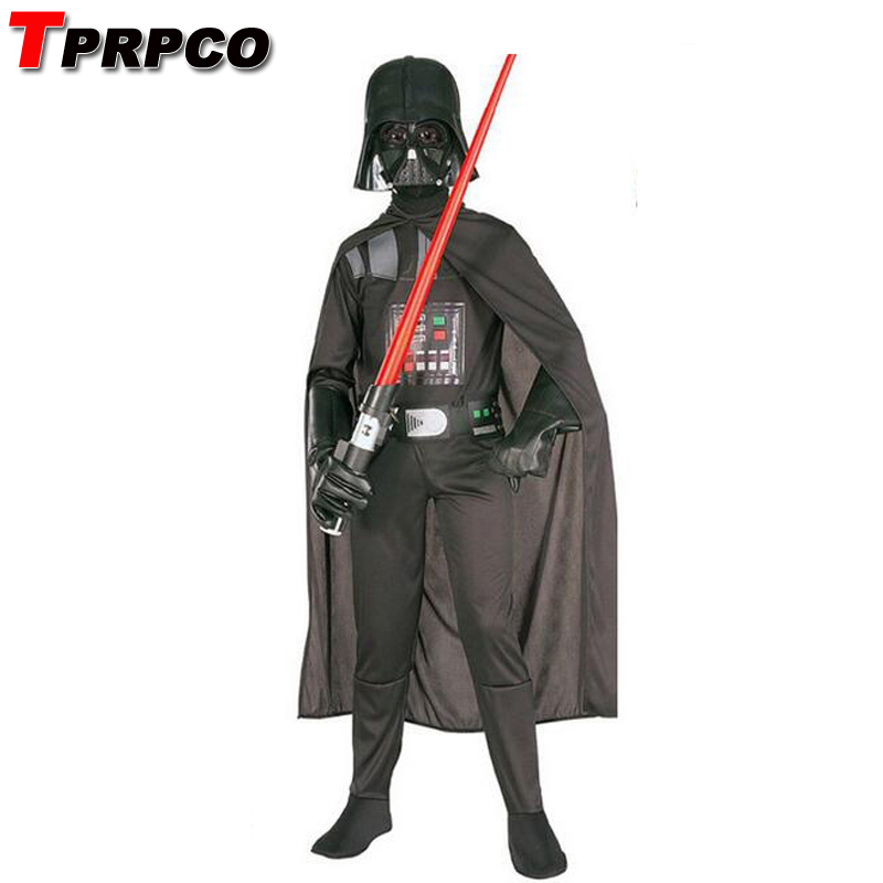 TPRPCO Kids Darth Vader Costume Darth Vader Jumpsuit Black Clothing With Cape Christmas Holiday Cosplay For Boys Girls N124