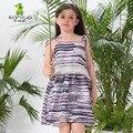 2016 Sin Mangas Del Verano Del Niño de Rayas de los Bebés Vestidos Square Collar Adolescente Playa Una Línea de ropa de Niños Ropa Niños