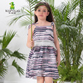 2016 Summer Sleeveless Toddler Striped Baby Girls Dresses Square Collar Teenage Beach A-line Children Clothing Kids Clothes