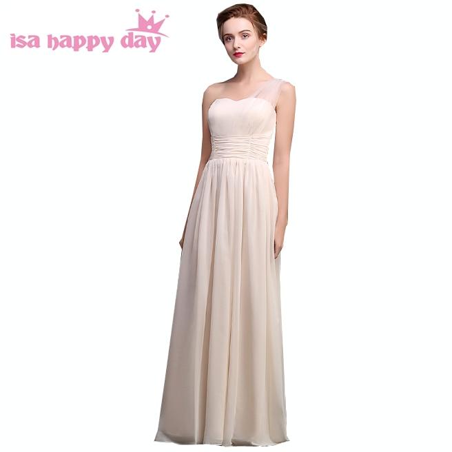 Sexy filles une épaule une ligne princesse champagne mousseline de soie robes de bal femmes sexy mode robes de mariée 2019 longue robe H3960